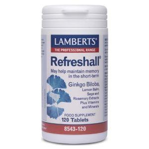 Lamberts Refreshall Σύμπλεγμα Gingko, Βάλσαμο Λεμονιού, Φασκόμηλο & Δεντρολίβανο Για Την Ενίσχυση Της Μνήμης 8543 120Tabs