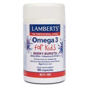 Lamberts Συμπλήρωμα Διατροφής Omega 3 Kids Λιπαρά Οξέα Για Παιδιά 8511 100 Caps