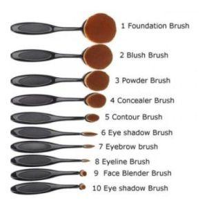 London Pride Make-Up Brush Σετ Με Πινέλα Μακιγιάζ Oval Μαύρο Χρώμα 10 Τμχ