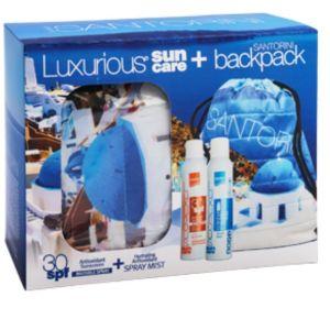 Intermed Πακέτο Promo Luxurius Suncare Santorini Luxurious Διάφανο Αντιηλιακό SPF 30 200ml, Luxurious Ενυδατικό Mist 200ml & Δώρο Backpack Santorini 1τμχ