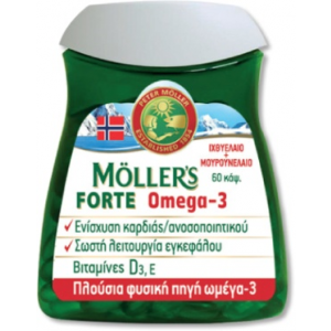 Moller's Forte Μουρουνέλαιο Μίγμα Ιχθυέλαιου &  Μουρουνέλαιου Πλούσιο Σε Ω3 Λιπαρά Οξάα 60 Caps