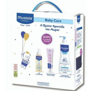 Mustela Baby Care Πακέτο Απαλό Αφροντούς Για Σώμα & Μαλλιά 500ml & Κρέμα Αλλαγής Πάνας 50ml & Λάδι Για Μασάζ 100ml