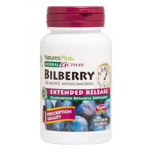 Natures Plus Herbal Actives Bilberry 100mg Συμπλήρωμα Διατροφής Με Μύρτιλλο 30 Tabs
