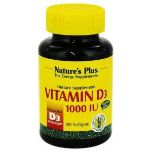 Natures Plus Vitamin D3 1000 IU 25mcg Βιταμίνη D3 180 softgels