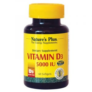 Natures Plus Vitamin D3 5000iu 125mcg Συμπλήρωμα Διατροφής Για Καλή Λειτουργία Του Νευρικού Συστήματος, Υγιή Οστά & Δόντια 60caps