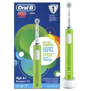Oral B Junior Ηλεκτρική Οδοντόβουρτσα Για Παιδιά Ηλικίας 6+ Πράσινο Χρώμα 1Τμχ