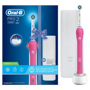 Oral-B Ηλεκτρική Οδοντόβουρτσα Crossaction Pro 2 2500 Pink Edition & Δώρο Θήκη Ταξιδιού