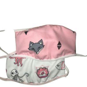 Παιδική Βαμβακερή Μάσκα Προσώπου Με Σχέδιο Αλεπού & Βυθό  (A6)  2τμχ