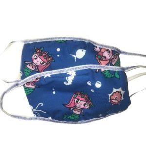 Παιδική Βαμβακερή Μάσκα Προσώπου Με Σχέδιο Γοργόνα Ή Ψαράκια 2 Τμχ