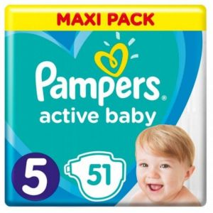 Pampers Active Baby Βρεφικές Πάνες No 5 (11-16Kg) Maxi Pack 51 Τμχ
