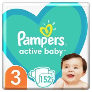 Pampers Active Baby Βρεφικές Πάνες No 3 (6-10kg) Mega Pack 152 τεμάχια