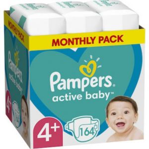 Pampers Active Baby Monthly Pack No 4+ (10-15kg) Βρεφικές Πάνες 164τμχ