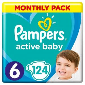 Pampers Active Baby Monthly Pack No6 (13-18Kg) Βρεφικές Πάνες 124 Τμχ | Dpharmacy.gr