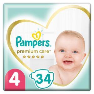 Pampers Premium Care Βρεφικές Πάνες No 4 (8-14Kg) Value Pack 34 τμχ