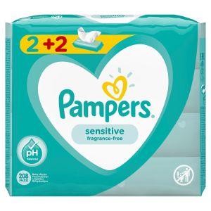 Pampers Sensitive Μωρομάντηλα 2+2 Δώρο 4x52τμχ