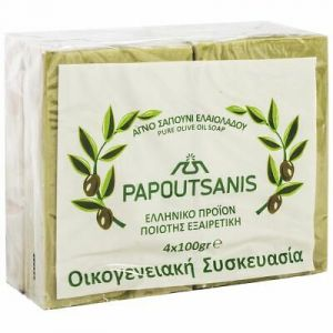 Papoutsanis Παραδοσιακό Πράσινο Σαπούνι Ελαιολάδου 4x100gr