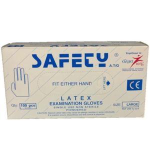 Safety Εξεταστικά Γάντια Latex Με Πούδρα Large 100τμχ