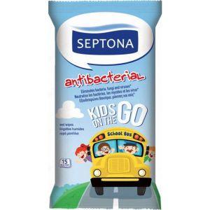 Septona Antibacterial Kids On The Go Αντιβακτηριδιακά Παιδικά Μαντηλάκια Καθαρισμού 15τμχ