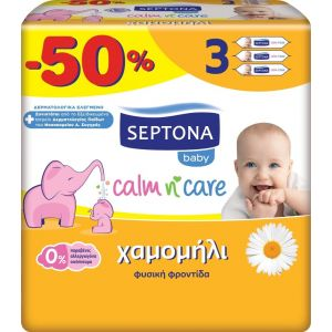Septona Calm n Care Μωρομάντηλα Chamomile (-50%)  3 x 64 τεμάχια
