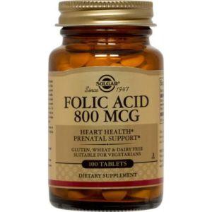 Solgar Folic Acid 800mg Συμπλήρωμα Διατροφής Με Φολικό Οξύ Για Ενίσχυση Του Ανοσοποιητικού & Μείωση Της Κόπωσης 100 Φυτικές Κάψουλες