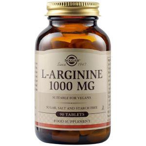 Solgar L-Arginine 1000mg Αργινίνη για τη Σωστή Λειτουργία των Κυττάρων & του Μεταβολισμού 90 Φυτικές Κάψουλες