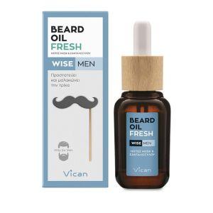 Vican Wise Men Beard Oil Fresh Λάδι Για Τη Γενειάδα Του Άνδρα 30ml