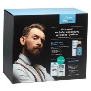 Vican Πακέτο Promo Σετ Wise Men Set Beard Hair Σαμπουάν Fresh 200ml & Δώρο Gift Beard Μαντηλάκια Καθαρισμού Fresh 12 Τμχ