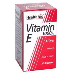 Health Aid Vitamin E 1000iu Συμπλήρωμα Διατροφής Με Βιταμίνη Ε Για Δύναμη & Αντιοξείδωση 30 Κάψουλες