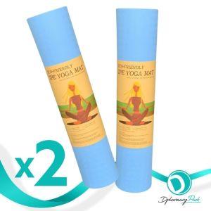 TPE Yoga Mat Πακέτο Promo 1+1 Δώρο Οικολογικό Στρώμα Γυμναστικής Yoga-Πιλάτες Χρώμα Γαλάζιο 2τμχ