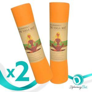 TPE Yoga Mat Πακέτο Promo 1+1 Δώρο Οικολογικό Στρώμα Γυμναστικής Yoga-Πιλάτες Χρώμα Πορτοκαλί 2τμχ