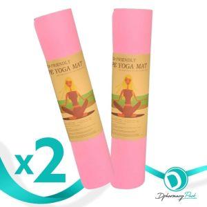 TPE Yoga Mat Πακέτο Promo 1+1 Δώρο Οικολογικό Στρώμα Γυμναστικής Yoga-Πιλάτες Χρώμα Ροζ 2τμχ