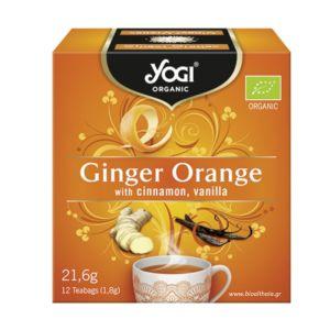 Yogi Organic Tea Ginger Orange Τσάι Με Τζίντζερ, Πορτοκάλι, Κανέλα & Βανίλια Ρόφημα Βοτάνων Για Ενέργεια & Τόνωση 12φακελάκια