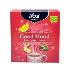 Yogi Organic Tea Good Mood Τσάι Με Βασιλικό, Τζίντζερ & Λεμόνι Για Αναζωογόνηση & Καλή Διάθεση 12φακελάκια