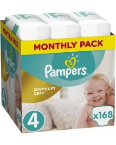 Pampers Premium Care Monthly Pack No 4 (8-14Kg) Βρεφικές Πάνες 168 Τμχ