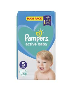 Pampers Active Baby Maxi Pack No 5 (11-16Kg) Βρεφικές Πάνες 51 Τμχ