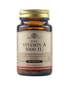 Solgar Vitamin A 5000IU Dry Συμπλήρωμα Διατροφής Με Βιταμίνη Α Για Την Ενδυνάμωση της 'Ορασης, Των Δοντιών, Των Οστών Και Των Μαλλιών 100 Φυτικές Ταμπλέτες