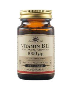 Solgar Vitamin B-12 1000MCG 100 Nuggets Συμπλήρωμα Διατροφής Με Βιταμίνη Β-12 Για Υγιές Καρδιαγγειακό Σύστημα 100 Μασώμενες Φυτικές Κάψουλες