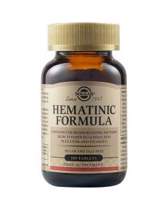 Solgar Hematinic Formula Φόρμουλα Με Σίδηρο, Βιταμίνη Β12 & C & Φολικό Οξύ Για Δόμηση Του Αίματος & Περιπτώσεις Αναιμίας 100 Φυτικές Ταμπλέτες