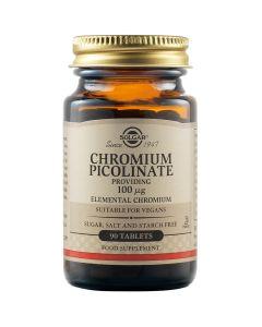 Solgar Chromium Picolinate 100mg Συμπλήρωμα Διατροφής Με Χρώμιο Για Έλεγχο Του Σακχάρου & Μεταβολισμό Του Λίπους 90 Φυτικές Ταμπλέτες