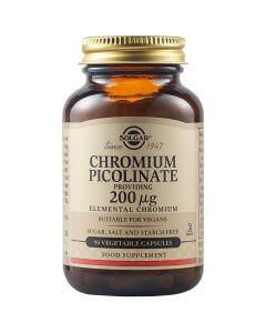 Solgar Chromium Picolinate 200mg Συμπλήρωμα Διατροφής Με Χρώμιο Για Την Ενίσχυση Του Μεταβολισμού 90 Φυτικές Κάψουλες