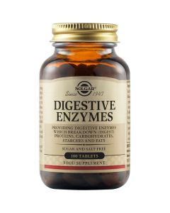 Solgar Digestive Enzymes 144mg Φόρμουλα Πολλών Πεπτικών Ενζύμων Για Την Ενίσχυση Της Περιορισμένης Διατροφής, Την Πέψη & Την Απορρόφηση Των Απαραίτητων Θρεπτικών Συστατικών 100 Φυτικές Ταμπλέτες