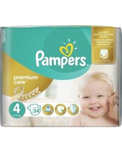 Pampers Premium Care No4 (8-14Kg) 34 Βρεφικές Πάνες