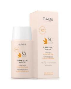 Babe Sunscreen Super Fluid Color Spf 50 Λεπτόρρευστη Αντιηλιακή Κρέμα Προσώπου Με Χρώμα 50ml