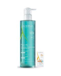 A-Derma Πακέτο Promo Set Phys-AC Σετ Gel Καθαρισμού Για Δέρμα Με Τάση Ακμής 400ml & Protect AC Αντιηλιακό Προσώπου SPF50+ 5ml