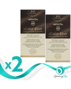 Apivita Πακέτο 1+1 Δώρο My Color Elixir Μόνιμη Βαφή Μαλλιών No. 6.0 Ξανθό Σκούρο 50ml+75ml x2