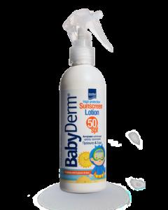 Intermed Babyderm Sunscreen Spray Παιδικό Αντιηλιακό Γαλάκτωμα Για Πρόσωπο & Σώμα Spf50 200ml