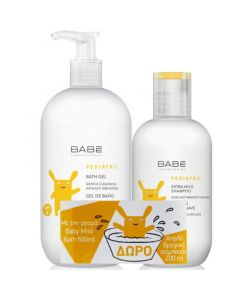 Babe Pediatric Πακέτο Promo Set Bath Gel Σετ Παιδικό Αφρόλουτρο 500ml & Δώρο Pediatric Extra Mild Σαμπουάν 200ml
