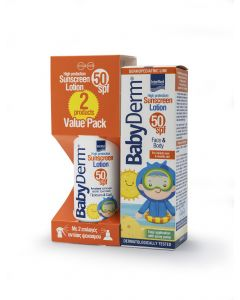 Intermed Promo 1+1 Δωρο Babyderm Sunscreen Lotion Face & Body Spf50+ Παιδικο Αντιηλιακο 6Μ+ 200ml