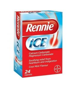 Bayer Rennie Ice Συμπλήρωμα Διατροφής για τη Δυσπεψία με Γεύση Μέντα 24 Μασώμενα Δισκία