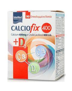 Intermed Calciofix 400 Calcium 600mg & Cholecalciferol 400I.U. Συμπλήρωμα Διατροφής Για Τις Ημερήσιες Ανάγκες Σε Ασβέστιο & Βιταμίνη D3 90 Επικαλυμμένα Δισκία